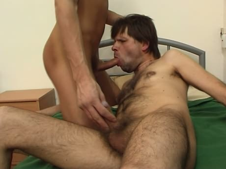 Old army gay sucks lad's cock then fucks his ass. In no time horny young ...